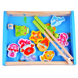 Baby Educational Toys 14Pcs Fish Wooden Magnetic Fishing Toy Set Fish Game Educational Fishing Toy