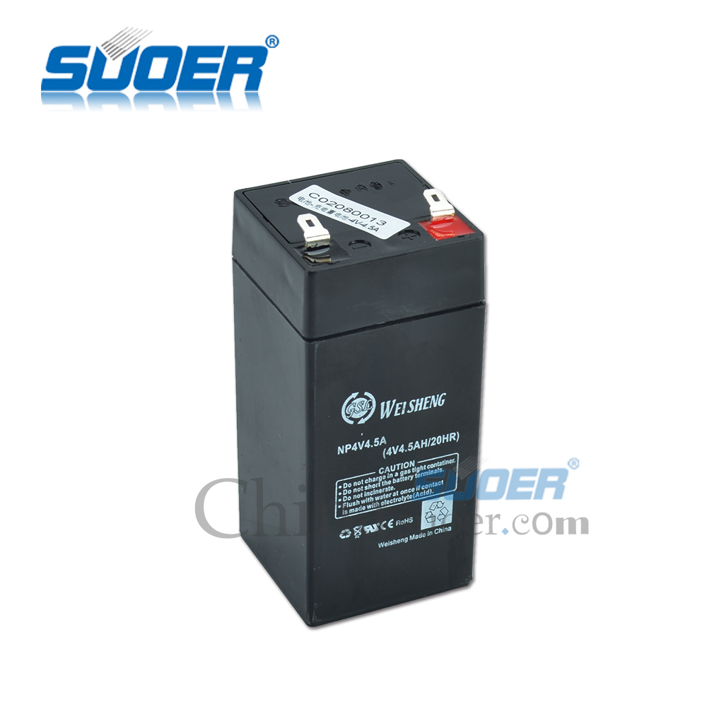 Suoer 4.5AH 4V solar power storage battery lead acid battery charger