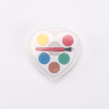 5 Mini Watercolor paint with Brush,Heart Shaped water color cake