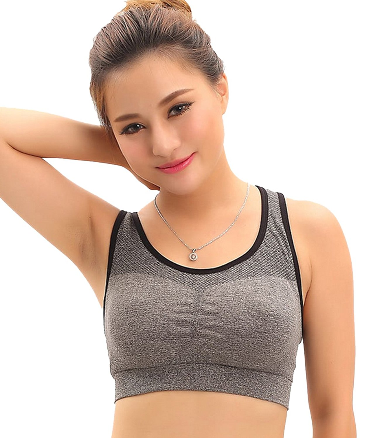 b473ce3dab Get Quotations · VICGGHDH Women s Seamless Quick-Drying Sport Bras Workout  Fitness Removable Pads Bras