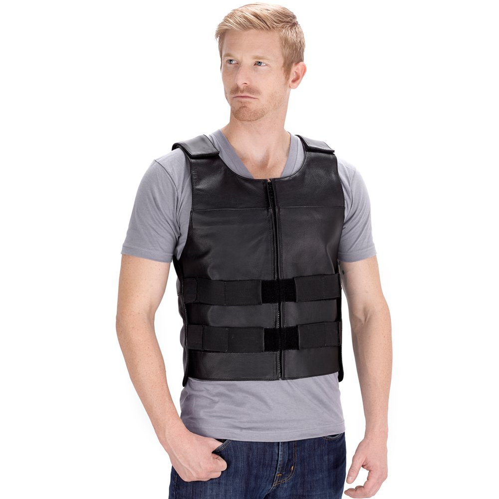 Viking Cycle Revolver Leather Motorcycle Vest for Men (Large)
