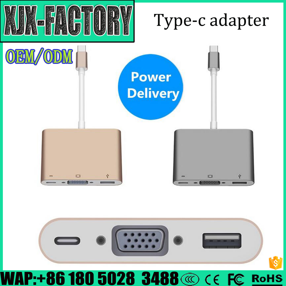 Top 3 factory!Different Models of 3 in 1 USB Type c Type-C to PD + VGA + USB3.1 Gen 1 Adapter