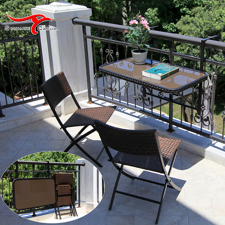 Leisure Space Saving Outdoor Patio Furniture Garden Bistro Balcony Hanging Wicker Rattan Folding Coffee Table and Chair Set