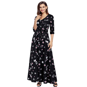 Weekly Deal Women' s Casual Floral Print Evening Dress Half Sleeve Vintage Maxi Black Long Dress