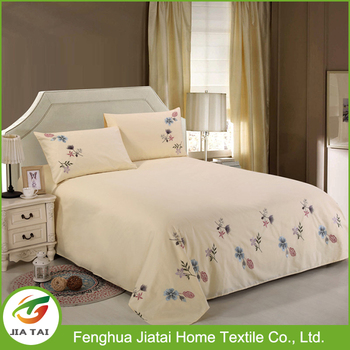 hand embroidery flower designs cheap cotton bed sheets in china