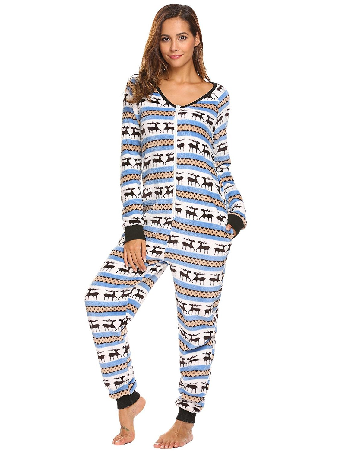 f6fde51ebd Get Quotations · Dickin Womens Onesie Pajama Jumpsuit Adult Non Footed  Fleece Plush Pajamas