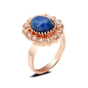 Stylish Domed Oval Central Precious Gem Rings Finger Decorative Accessory Royal Blue Lapis Lazuli Real Nature Stone Rings