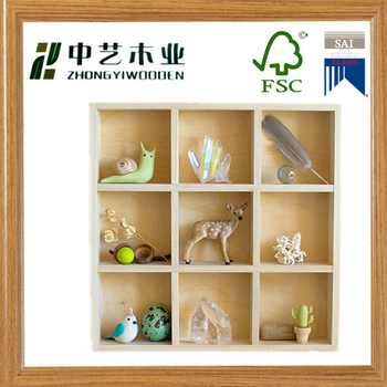 6 Cubby Hole Shadow Box Display Shelf Wall Hanging Table Top Curio Cabinet