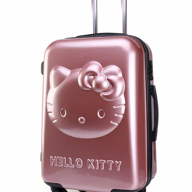 f76dcda050 Girls  Hello Kitty Trolley Luggage Hard Shell Suitcase Carton Travel Bags