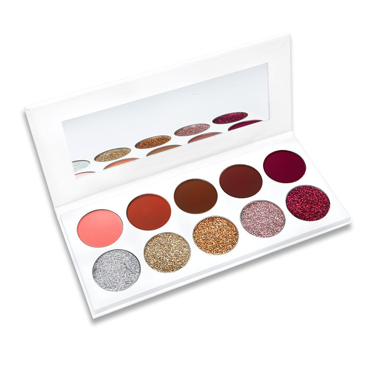 High Quality Pigment Private Label 10 Colors Eyeshadow Palette Pressed Glitter Eyeshadow