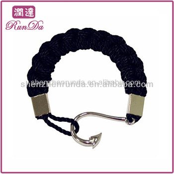 Whole Stainless Steel Men Fishhook Bracelet Cotton Or Nylon Rope Bracelets With Anchor Jewelry