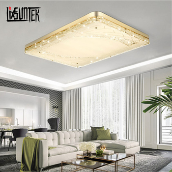 March Discount Hot Sale price beautiful Remote Controller Dimming and Coloring big crystal Led rectangular led ceiling light