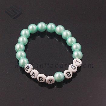 Top Sale Custom Letter Beads Bracelet Baby Boy Charm Pearl Bracelet
