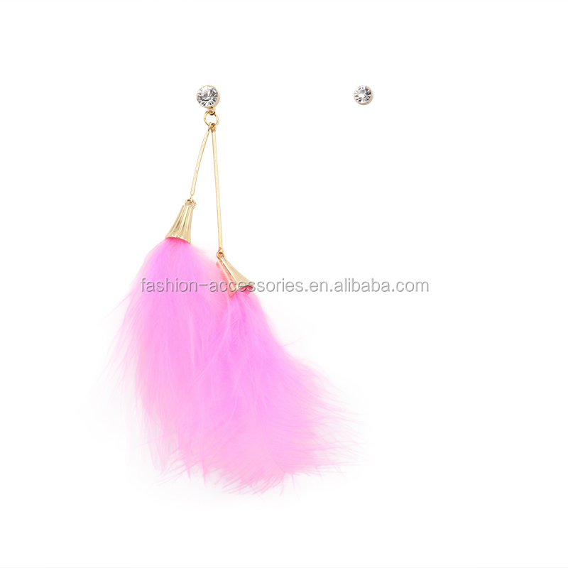 Fashion Women Boho Simple Designer Cute earing For Cute Girls Pink Rhinestone AB One Side Feather Mismatching Earrings