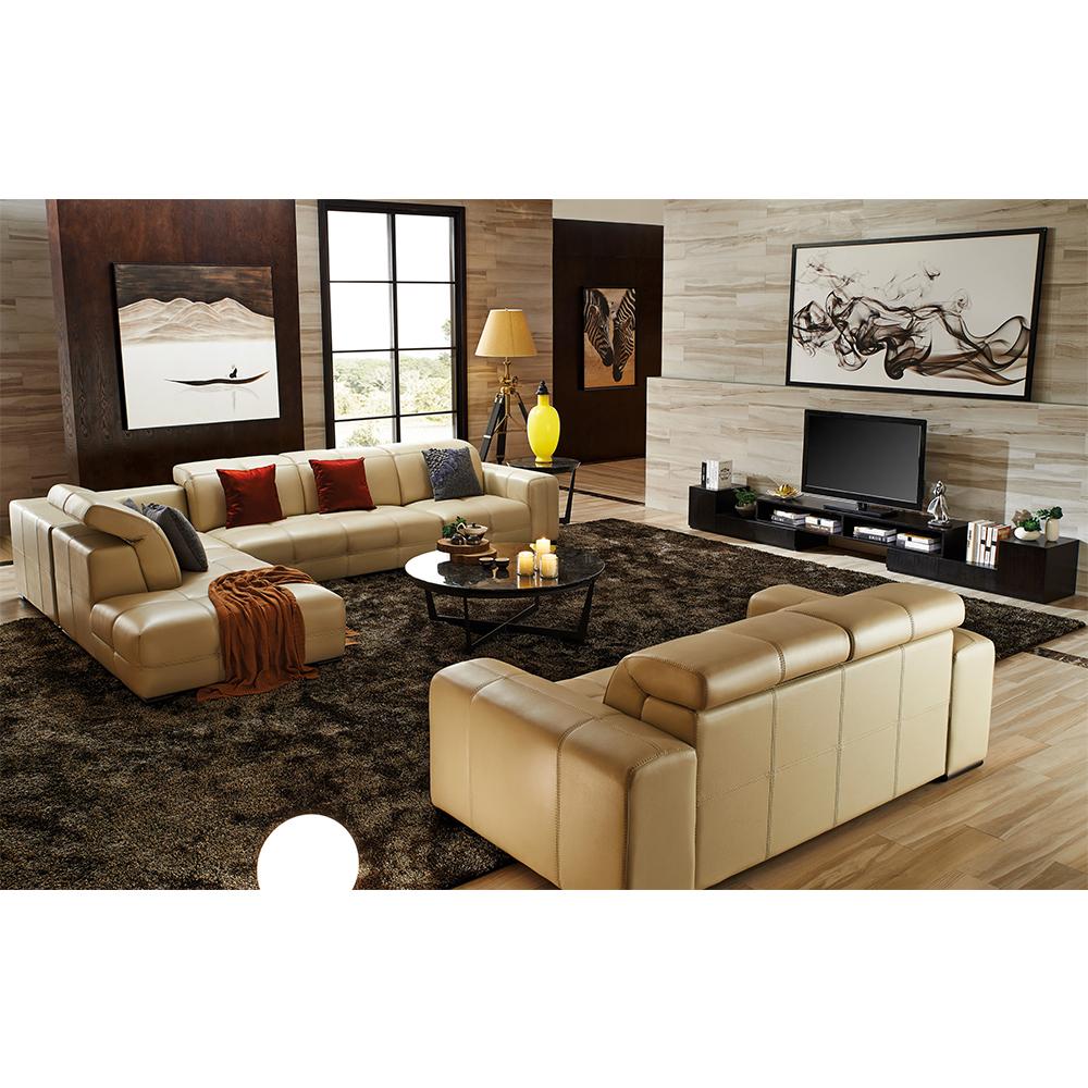 Luxury modern style italian design beige top grain cow leather sofa
