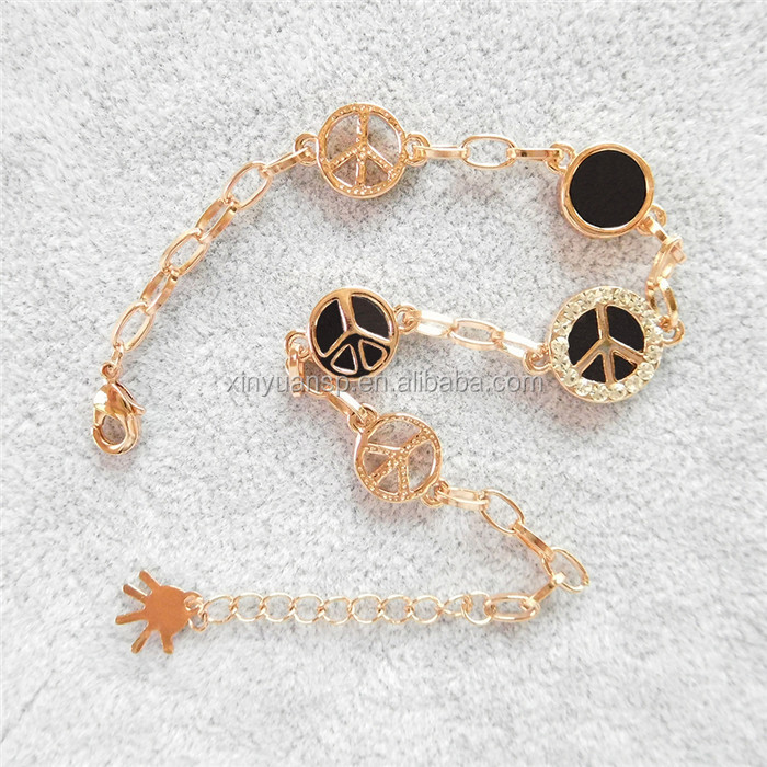 2018 top seller rose gold tint stainless steel european charm bracelet