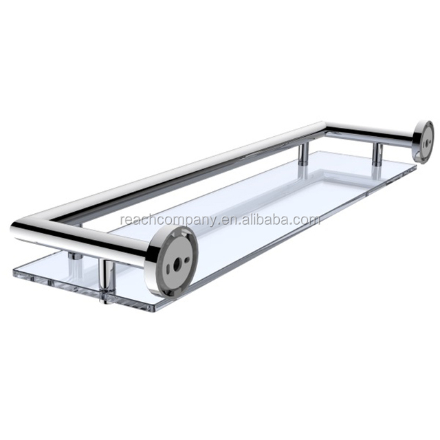 Wall Mounted Chrome Clear Commercial Glass Shelf For Shower Corner