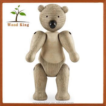 Pure Manual Grinding Polishing Animal Place Adorn Wood Carving Puppet Classic Bear Miniature Best Selling Antique Wood Crafts