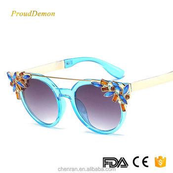 c9d413510e China Sunglass Manufacturers Wholesale PC Diamond Frame Gradual Round  Cateye Sunglasses for Men And Women J6697