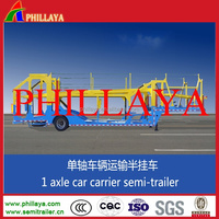 2 axles car hauler trailer with rear hydraulic system,two floors to load cars