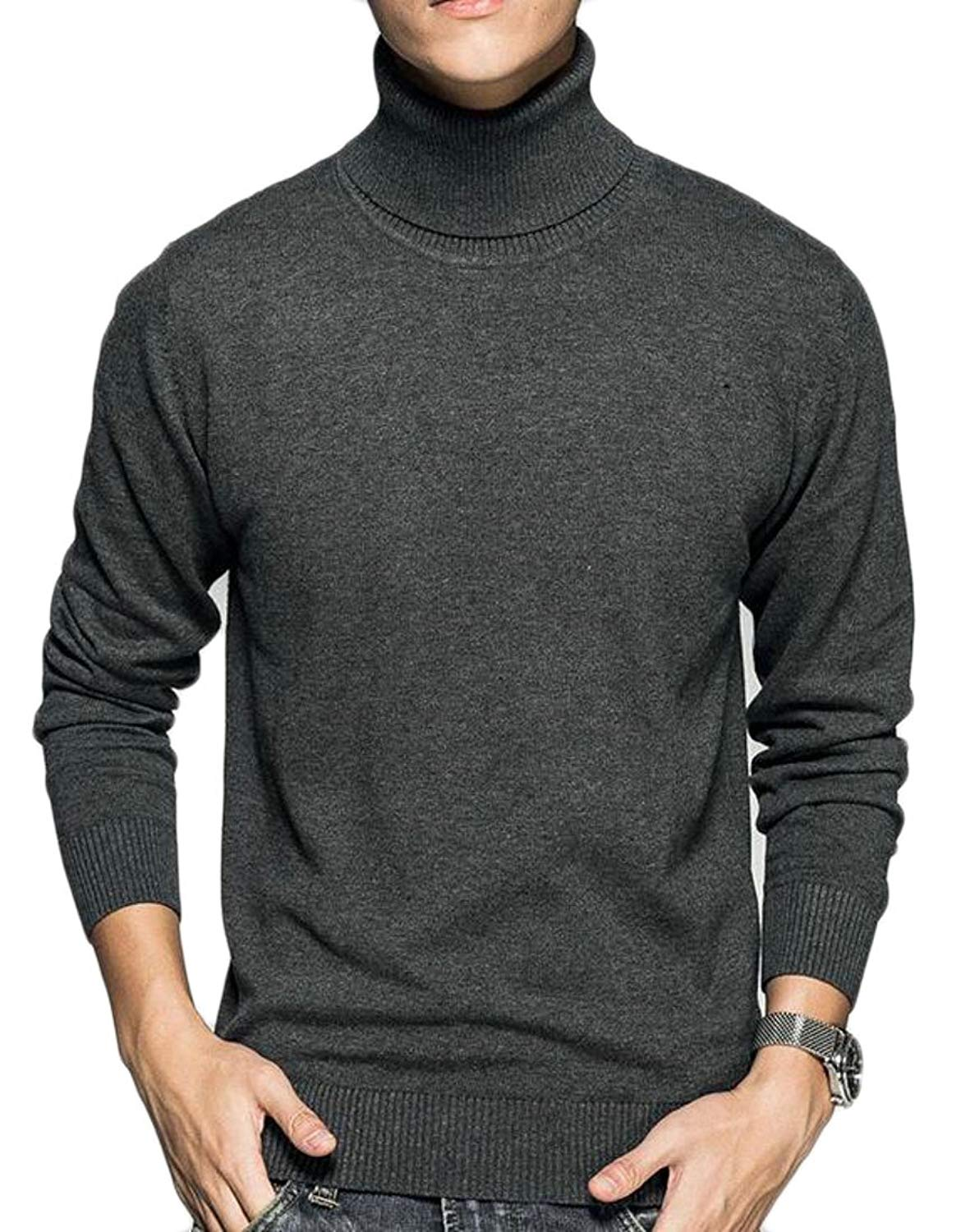 WSPLYSPJY Mens Casual Slim Fit Basic Knitted Turtleneck Pullover Thermal Sweaters