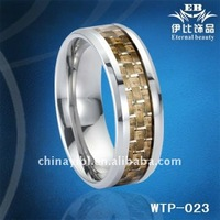 8mm Yellow Carbon Fiber Inlaid, Tungsten Ring, Men's Ring, Wedding Ring, Paypal