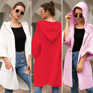 New Winter Sweater For Women 3/4 Sleeve Oversize Long Thick Knitted Women Sweater Jacket Cardigan With Hoody