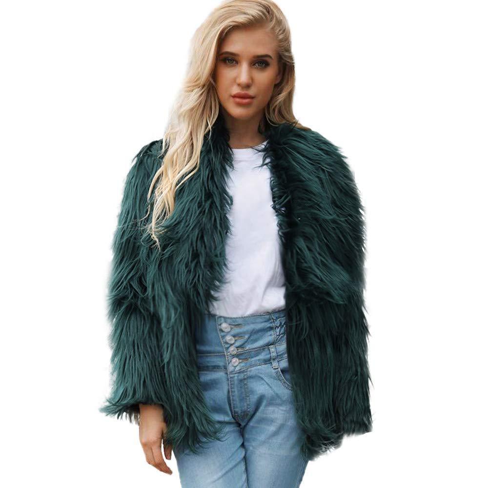 Seaintheson Clearance Women's Long Sleeve Fluffy Warm Faux Fur Coat Jacket Winter Solid Parka Large Lapel Outerwear Overcoat