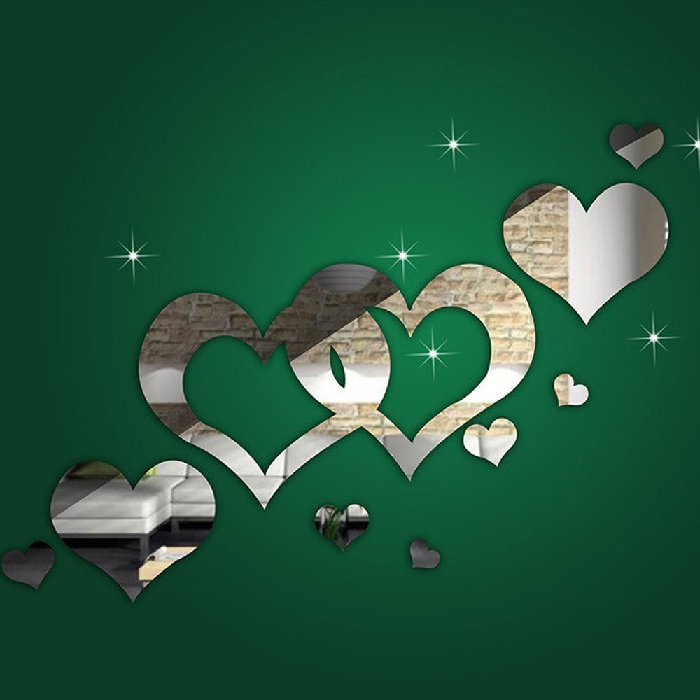 LTUI 1 Set 3D DIY Vinyl Removable Creative Silver Love Heart Shaped Modern Style Wall Stickers Wall Decals Wall Art Mirror Wall Decor For Bedroom Living Room Tv Background Home Decoration