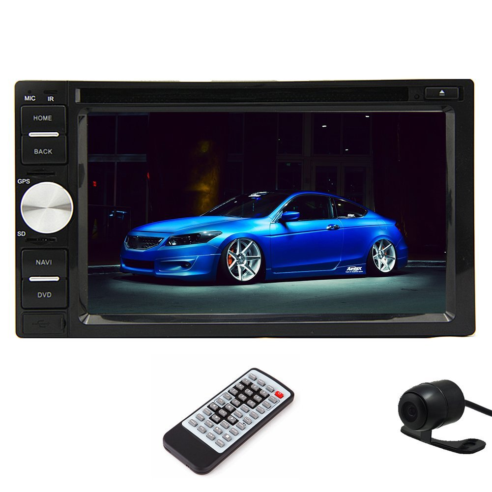 Free HD Rear camera double din Car Stereo DVD CD Player support SD MAP Bluetooth Mic phonebook USB RDS Mp3 MP4 AM FM radio Aux +Digital LCD touchscreen+Remote Control+Free HD rear camera as gift