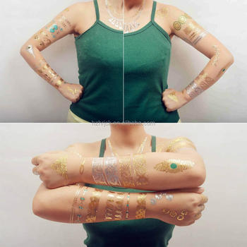 Temporary Fake Jewelry Tattoos Bracelets Feathers Wrist And Arm