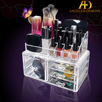 Dust Free Clear Makeup Organizer Diy Brushes Holder Case Storage Cosmetic Display Box