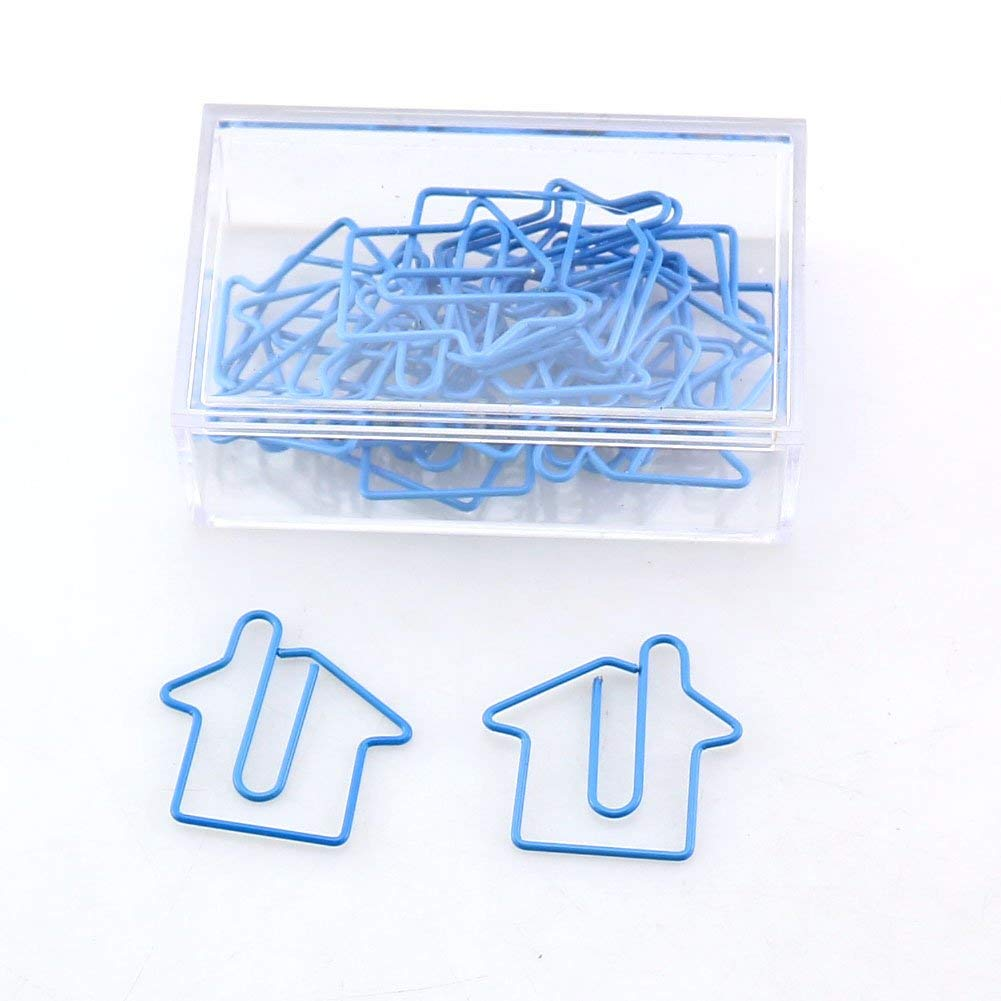 OUTU 20pcs/Box House/Slipper Shape Paper Clips Color Funny Kawaii Bookmark Office Shool Stationery Marking Clips H0146 (House)