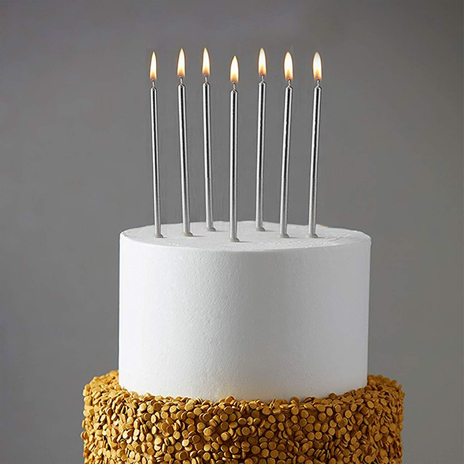 Get Quotations WEEPA 24 Count Party Long Thin Cake Candles Metallic Birthday In Holders For Cakes