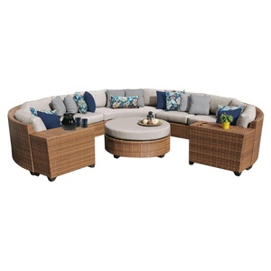 luxury sectional furniture set pe rattan outdoor round corner sofa