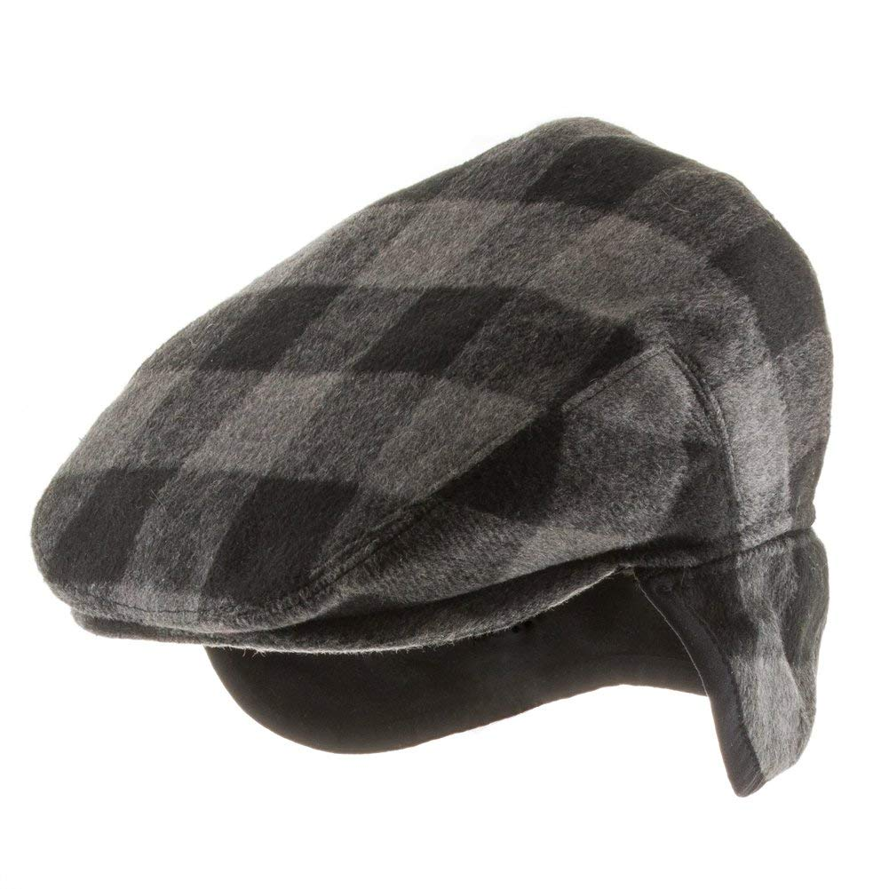 Get Quotations · Ultrafino New Jersey Plaid Wool Newsboy Ivy Cap with Fleece  Ear Flaps 9429589e87e7