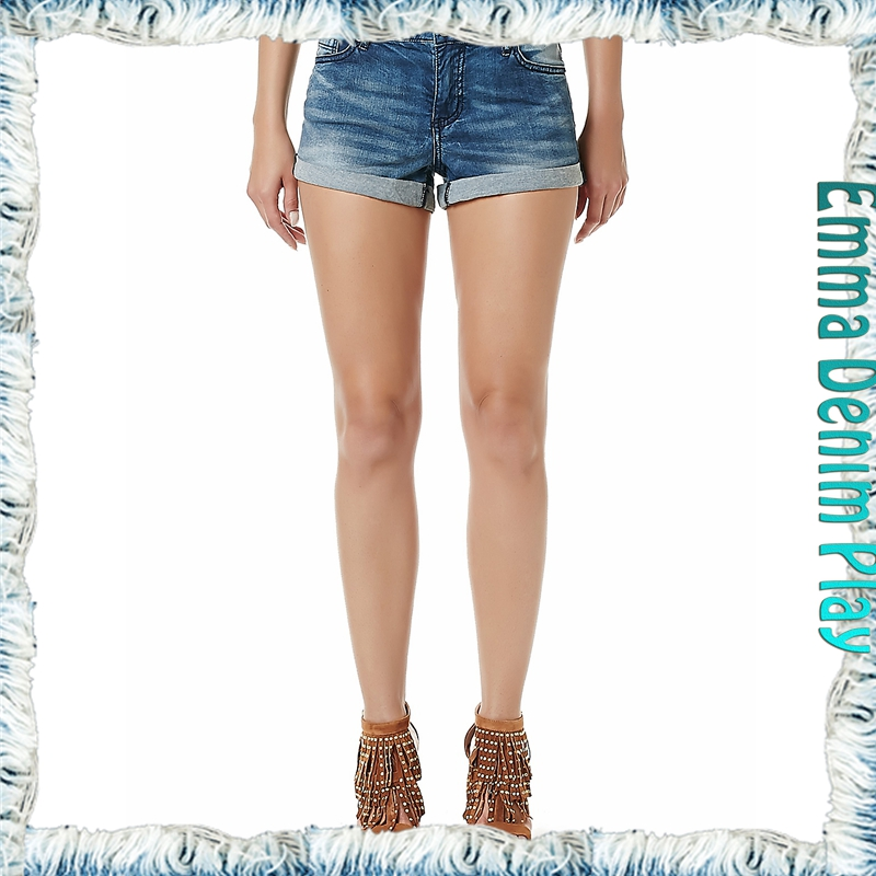 Made In China Blue High Waist Copper Button Womens Super Denim Shorts Wholesale