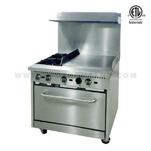 RGR36-G24 2 Burners Gas Cooker Range with Bakery Oven and Hot Griddle