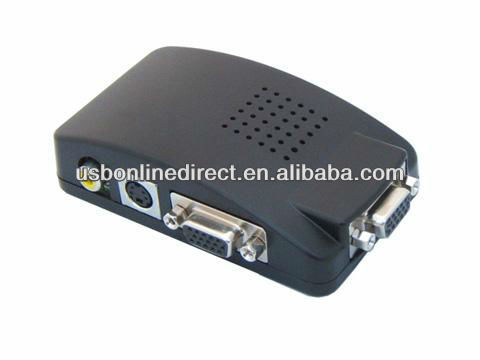AV to VGA Video converter Supports Composite VIDEO(BNC)), S-VIDEO, RGB