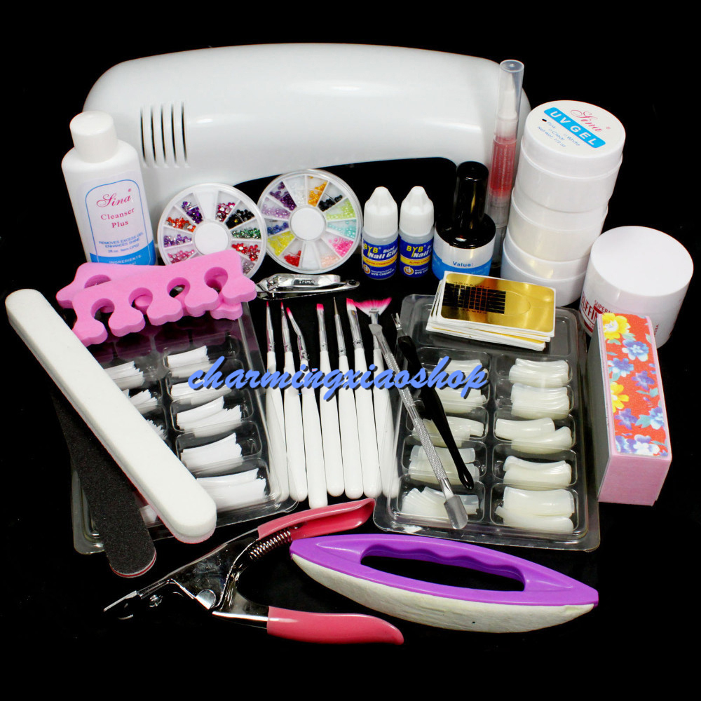 Nail Set & Kit Pro Nail Art UV Gel Kits Tool UV Lamp Brush