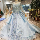 LS320400 beautiful heavy applique 3d flower illusion long sleeves blue evening dresses 2019