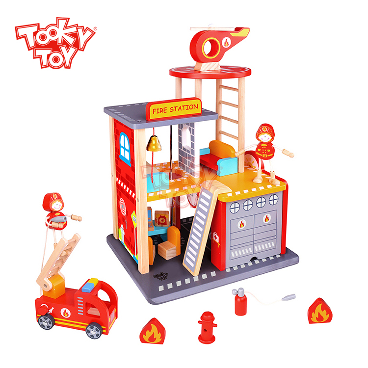 Wholesale funny kids fire station wooden toy