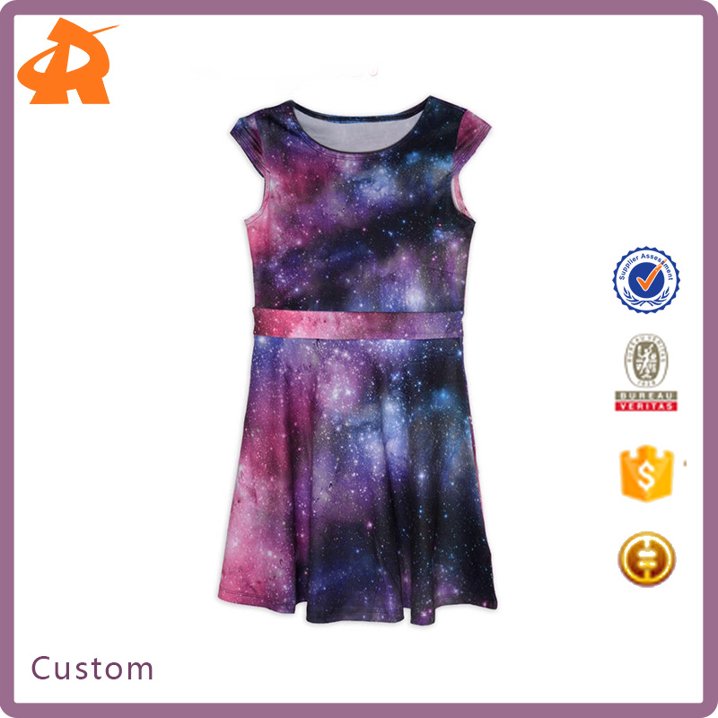 China Factory Direct Sale Kids Size Galaxy Dress Universe Outer Space Stars Children Latest Dress Style