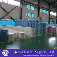 White/Colored Wood Pulp & Polypropylene Spunlace Nonwoven Fabric Jumbo Roll for Making Industrial Cleaning Wipes