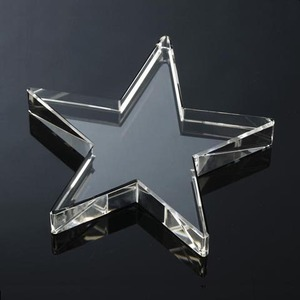 Customized crystal standing star shaped glass paperweight