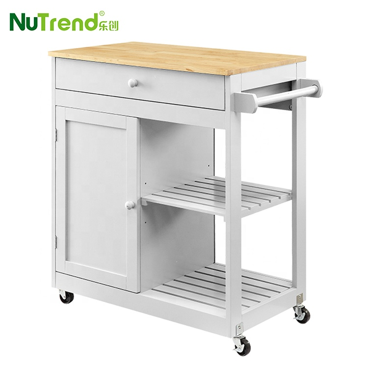 Rubber Wood Top Vegetable Movable Kitchen Island Trolley Cart On Wheels -  Buy Kitchen Cart,Movable Kitchen Island,Kitchen Island Trolley Product on  ...