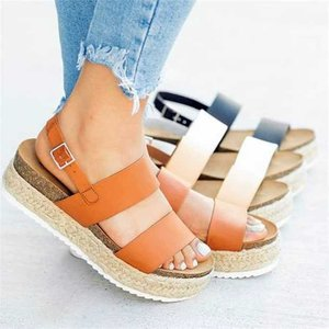 Summer High Heels Wedges PU Platform Women Sandals Buckle Strap Shoes Plus Size