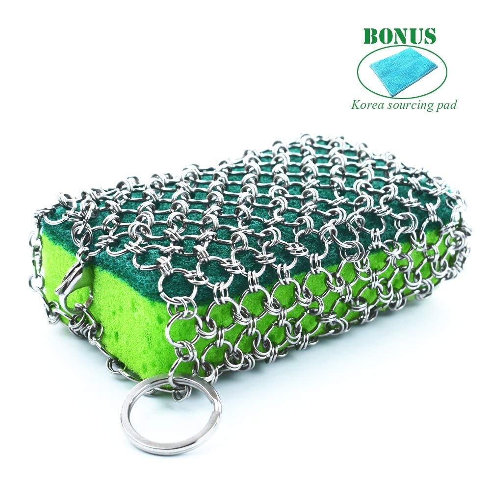 Stainless Steel Chainmail Scrubber, Cast Iron Cleaner With Sponge, Easy Handing, Faster Cleaning, 2018 New Design, Oil Free, No Soap Needed, Skillet, Pan Scraper for Home and Camping