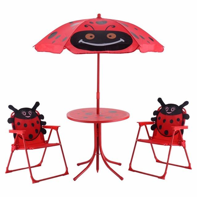 Kids Patio Set Outdoor Garden Table Chair Children Yard Furniture Child Folding