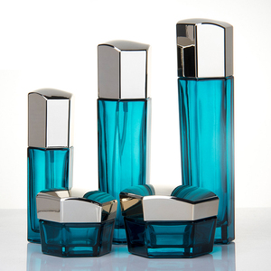 Jy-125 light blue transparent 50g cream cosmetic glass bottle 40ml 100ml with lotion pump